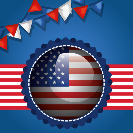 USA independence day with flag vector illustration design Archivio Fotografico - 103128685