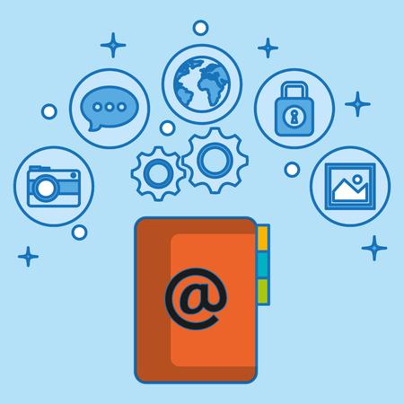 social media marketing set icons vector illustration design Stock Vector - 103142993