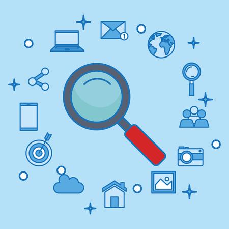 social media marketing set icons vector illustration design Stock Vector - 103142997