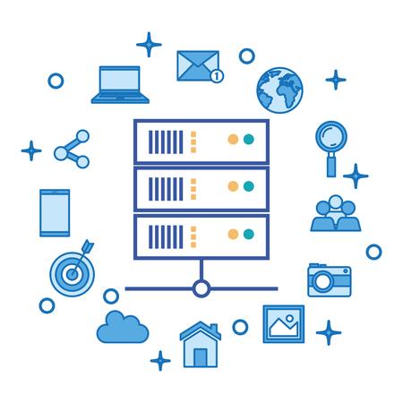 social media marketing set icons vector illustration design Stock Vector - 103173322