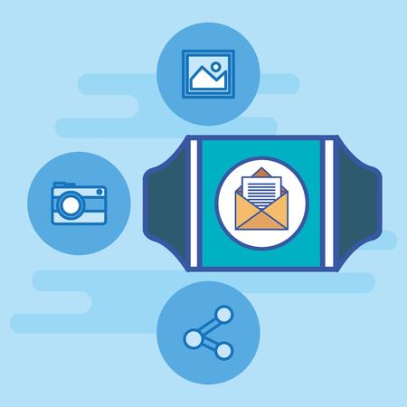smarthwatch with social media marketing vector illustration design