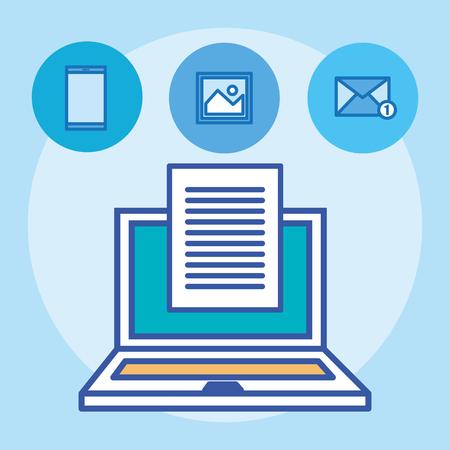laptop computer with social media marketing icons vector illustration design Illustration