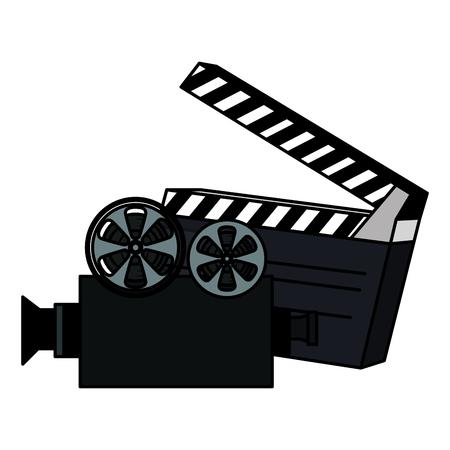 clapper board with video camera vector illustration design Illustration