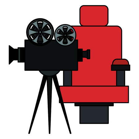 cinema chair with video camera vector illustration design