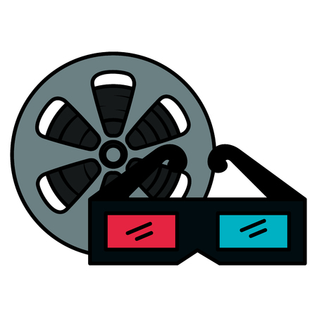 video reel with 3d glasses vector illustration design