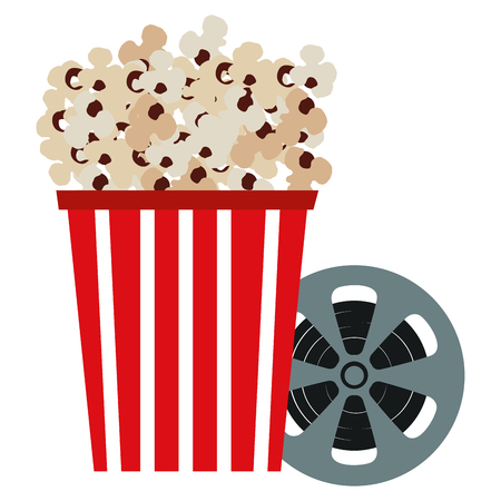 pop corn with reel vector illustration design