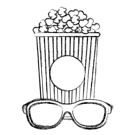 pop corn with 3d glasses vector illustration design