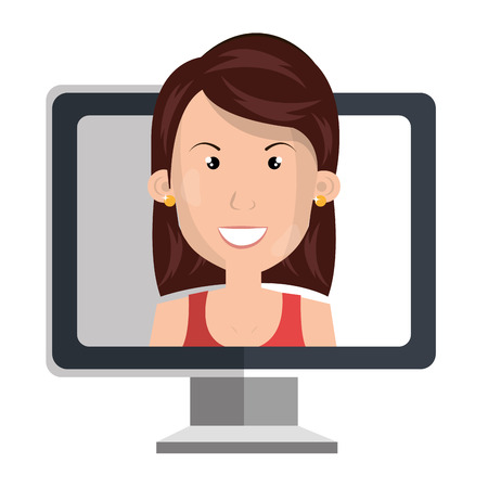 woman with computer icon vector illustration design Illustration