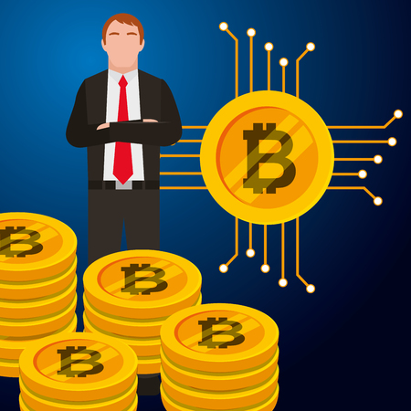 businessman bitcoin stacked golden vector illustration design