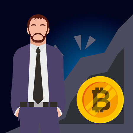businessman bitcoin mining business vector illustration design