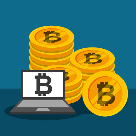 laptop bitcoin cryptocurrency money business vector illustration Illustration
