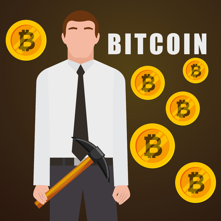 businessman bitcoin money and pickaxe mining vector illustration