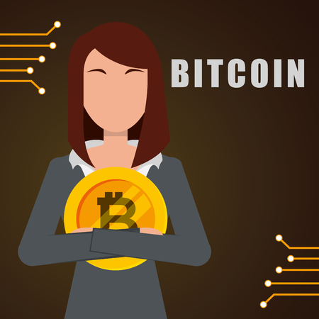 business woman embrace golden bitcoin vector illustration
