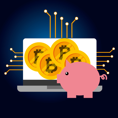 piggy bank laptop bitcoin cryptocurrency vector illustration