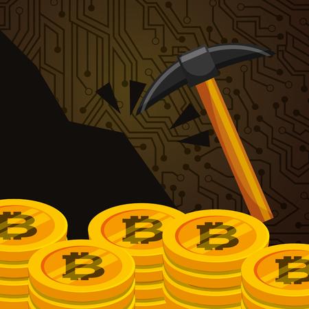 stacked bitcoins money mining pickaxe vector illustration
