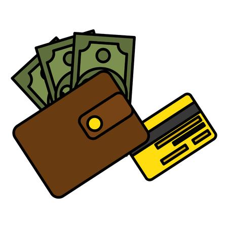 billetera de dinero con facturas y crédito ilustración vectorial diseño de la tarjeta