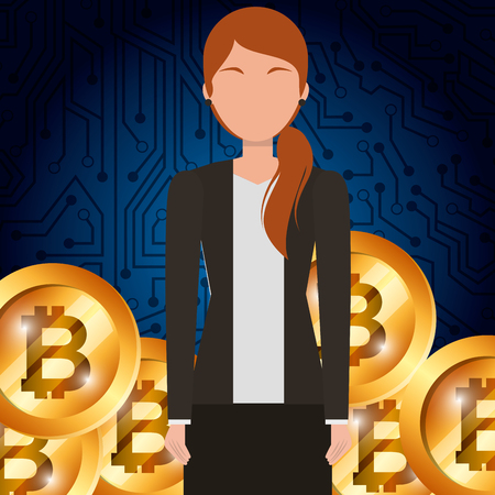 business woman and golden bitcoin cryptocurrency vector illustration Illustration