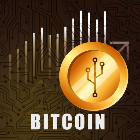 golden bitcoin growth business technology vector illustration Illustration