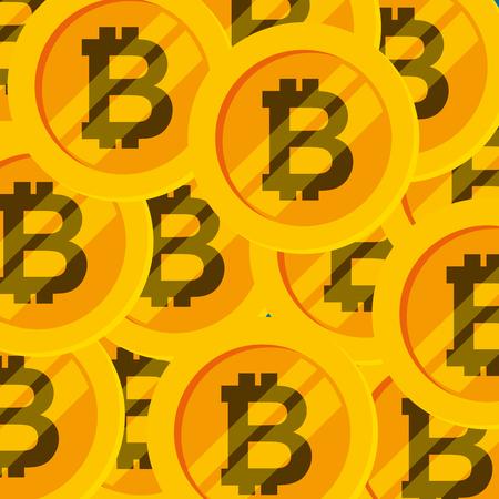 golden bitcoins money futuristic technology background vector illustration Ilustracja