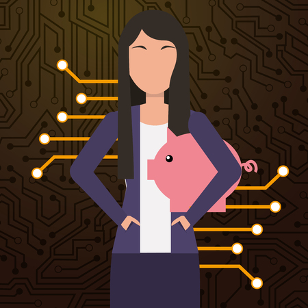 business woman piggy bank digital security vector illustration