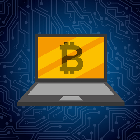laptop and golden bitcoin technology exchange vector illustration