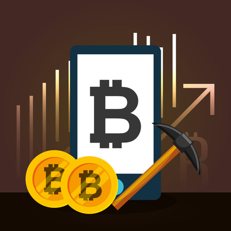 smartphone bitcoin pickaxe financial chart growth vector illustration