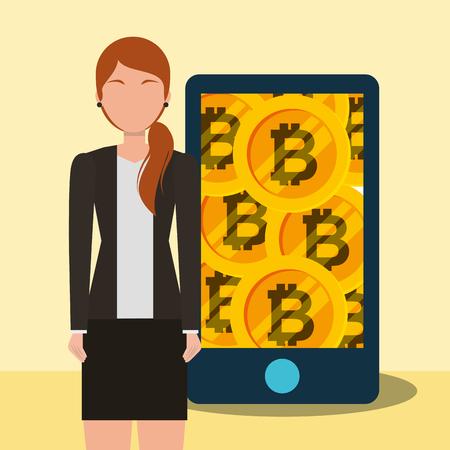 Ilustración de vector de oro de aplicación de bitcoin de mujer de negocios de bitcoin Foto de archivo - 103150606