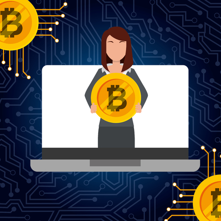 business woman in laptop holding bitcoin vector illustration