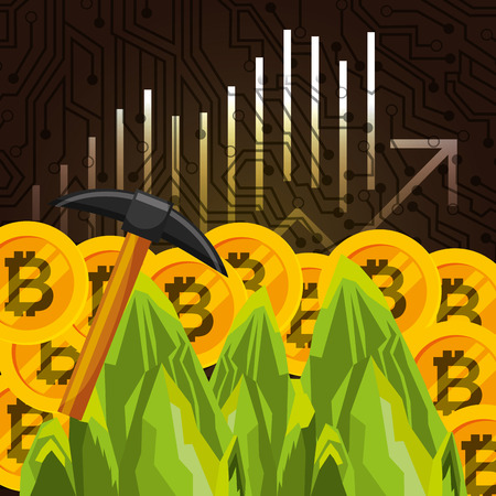 mining business bitcoin economy financial vector illustration