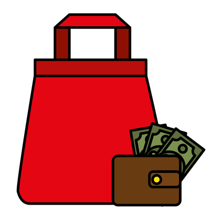shopping bag with wallet money vector illustration design Stock Illustratie