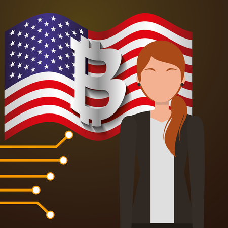business woman bitcoin american flag vector illustration