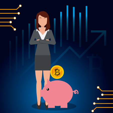 business woman and piggy bank bitcoin vector illustration Illustration