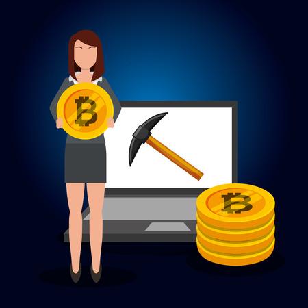 business woman bitcoin laptop pickaxe transaction vector illustration Stock Illustratie