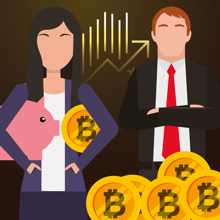 businessman and businesswoman piggy bank and bitcoin vector illustration