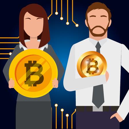 businessman and businesswoman with golden bitcoins vector illustration Ilustração