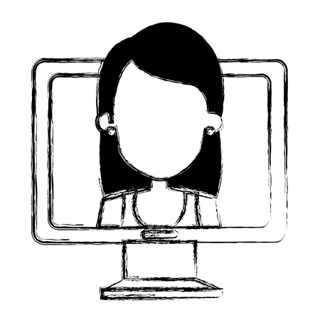 woman with computer icon vector illustration design 向量圖像