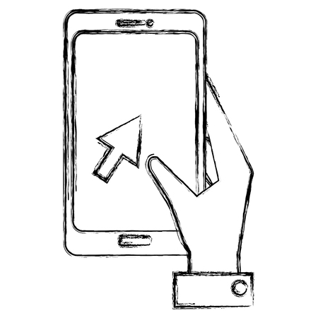 hand with smartphone icon vector illustration design