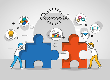 teamwork concept boys holding puzzle pieces stickers tools vector illustration
