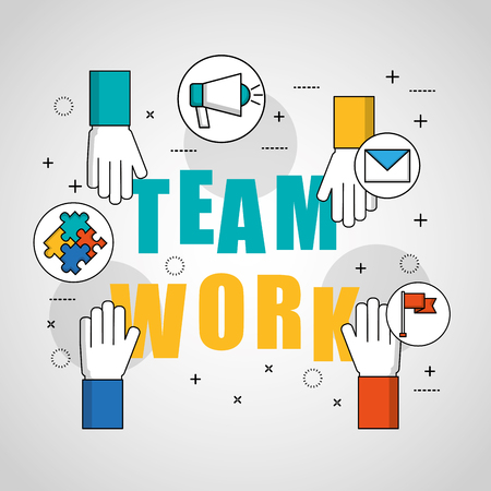 teamwork concept colorful hands touching sign stickers vector illustration