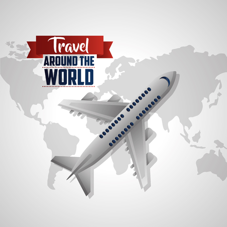 travel around the world grunge map background airplane in air vector illustration
