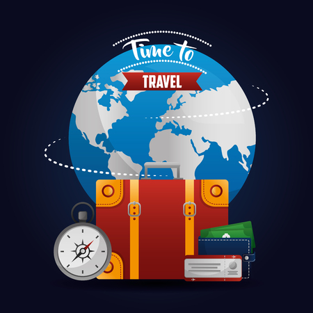 time to travel big world equipment compass wallet with money vector illustration