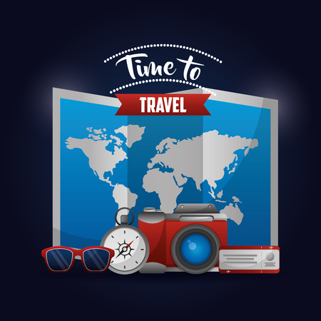 time to travel map route glasses compass camera vector illustration