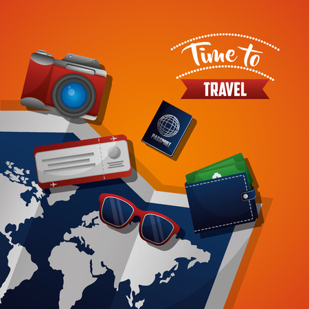 time to travel map trip with glasses wallet passport camera vector illustration