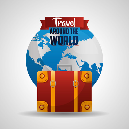travel around the world equipment trip route vector illustration