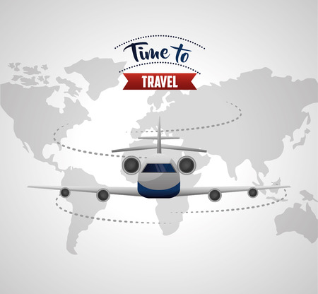 time to travel map trip background route airplane vector illustration