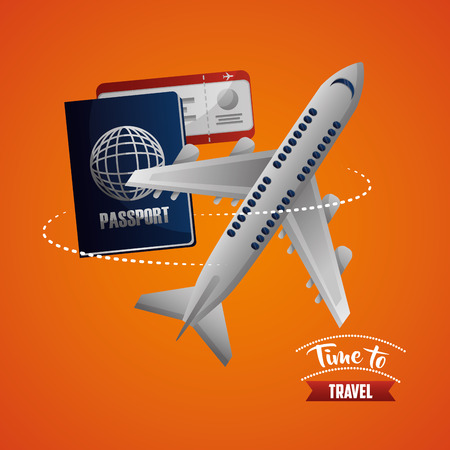 time to travel airplane route with passport radio vector illustration