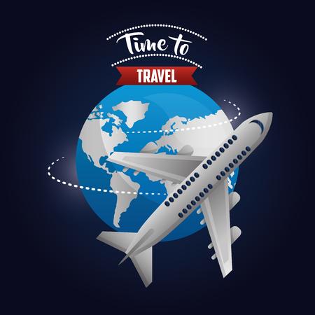 time to travel world route airplane trip enjoying vector illustration Stock Illustratie
