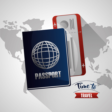 time to travel white map background passport with radio vector illustration