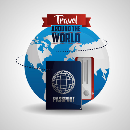 travel around the world route with passport radio good trip vector illustration