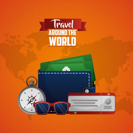 travel around the world wallet compass radio glasses money vector illustration Stock Illustratie